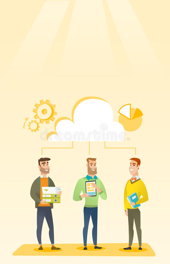 Businessmen and cloud computing technologies. royalty free illustration