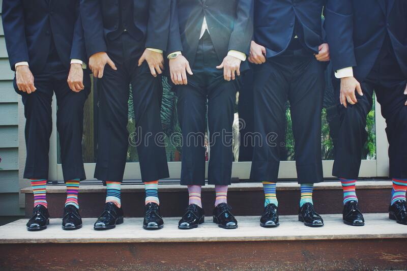 Businessmen with colorful socks royalty free stock photos