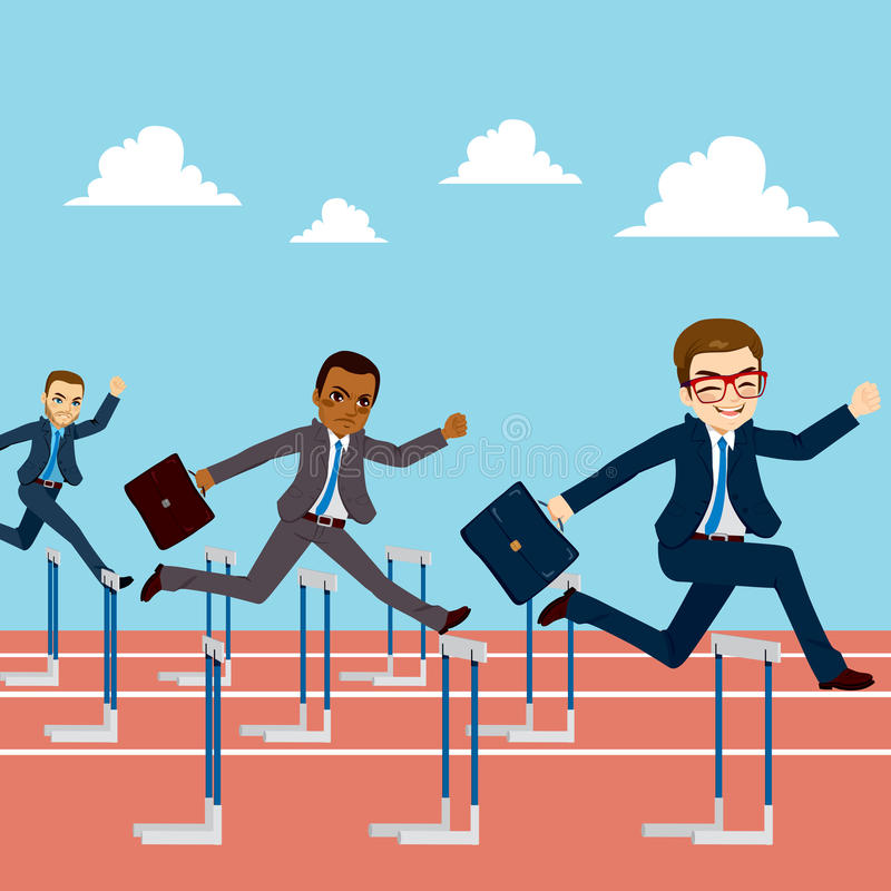 Businessmen Competition Jumping Hurdle. Small group of businessmen competition concept jumping hurdles on business competitive career stock illustration