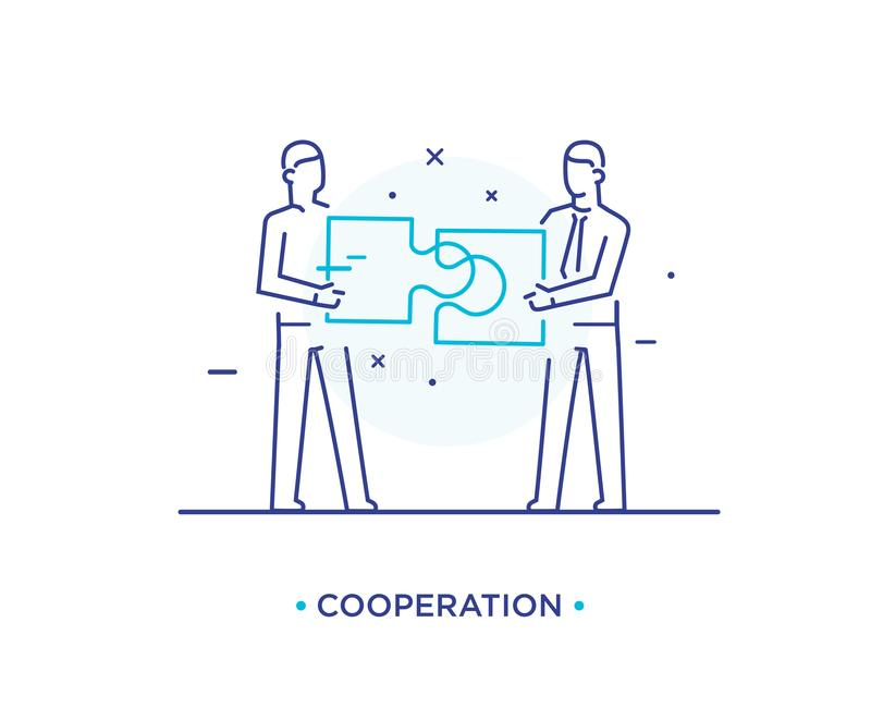 Businessmen connect puzzle. Joint efforts, success, union. Success Cooperation. line icon illustration royalty free illustration