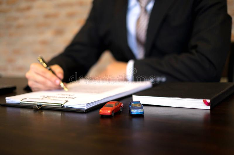 Businessmen contract on trading - rent a car. Businessmen insura. Nce car concept royalty free stock photos