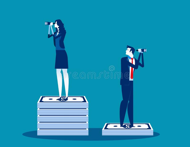 Businessmen and the difference of budget. Concept business vector, Binoculars, Searching, Money and Currency royalty free illustration