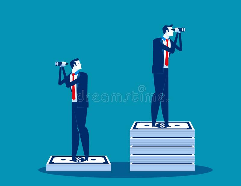 Businessmen and the difference of budget. Concept business vector, Binoculars, Searching, Money and Currency vector illustration
