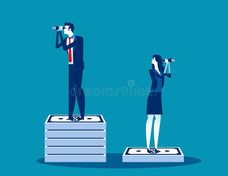 Businessmen and the difference of budget. Concept business vector, Binoculars, Searching, Money and Currency stock illustration