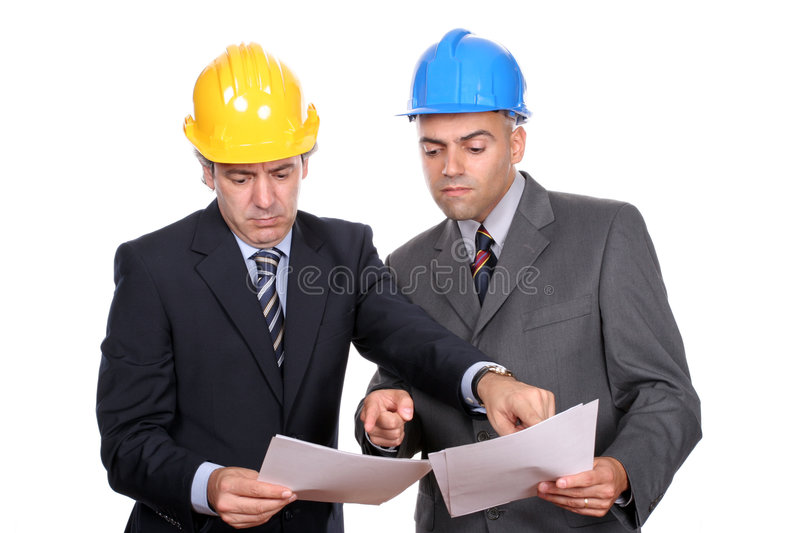 Businessmen discussing project. Businessmen in a meeting, discussing new project, isolated over white background royalty free stock photography