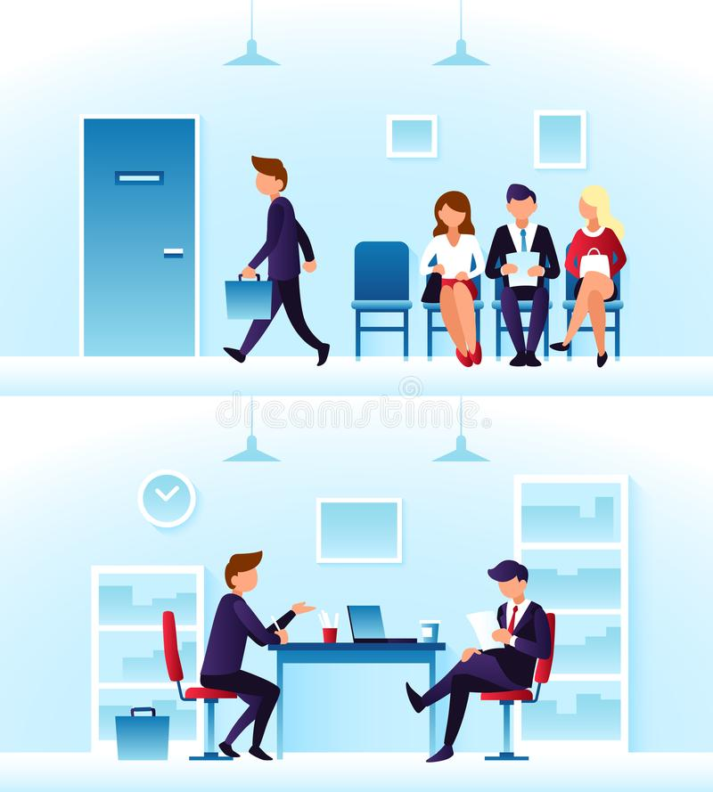 Businessmen, diverse employees waiting interview in row. Contender employee and interviewer sitting at desk on chairs stock illustration