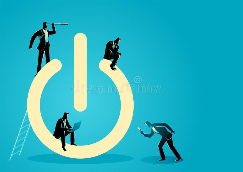 Businessmen doing activities around power button symbol stock images