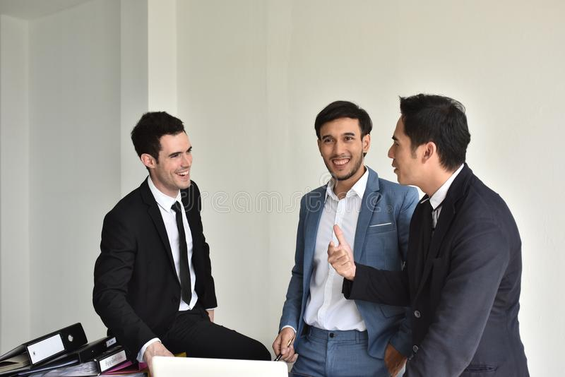 Businessmen Employees or business people are delighted to receive good news. stock photo