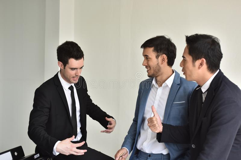 Businessmen Employees or business people are delighted to receive good news. stock images
