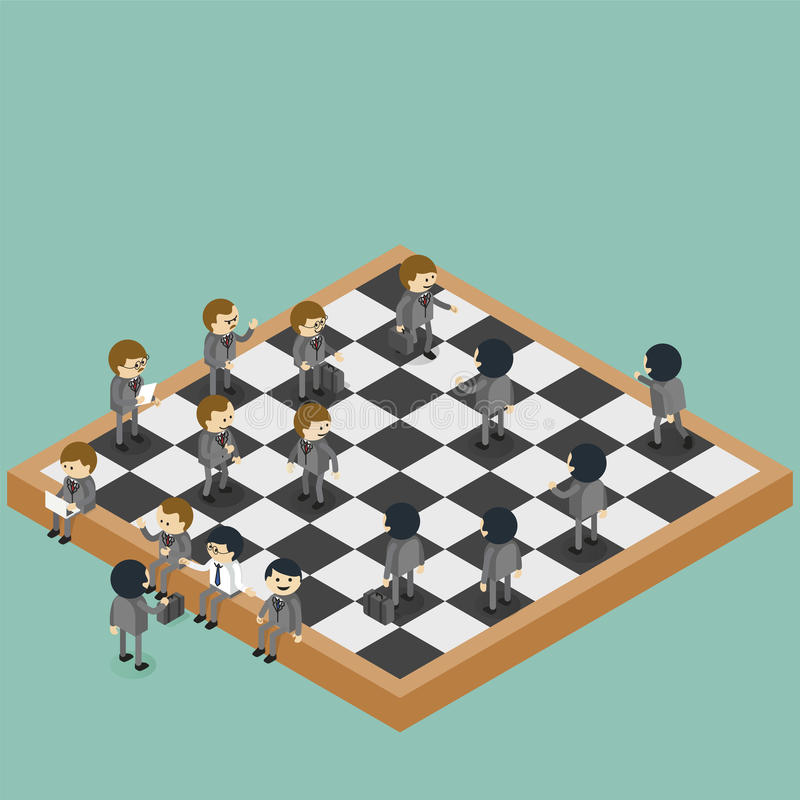 Businessmen are figures on chessboard. Playing real life game vector illustration