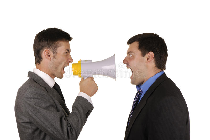 Businessmen find out emotionally attitudes. Two businessmen find out emotionally attitudes isolated on white background royalty free stock photography