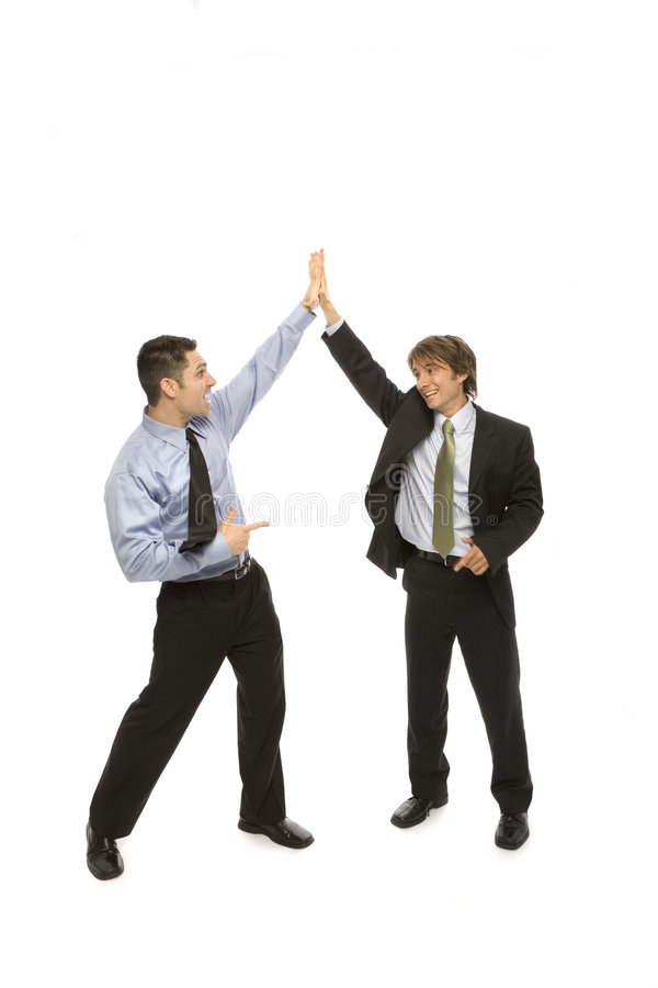 Download Businessmen Give A High Five Stock Image - Image of hand, hair: 2386309