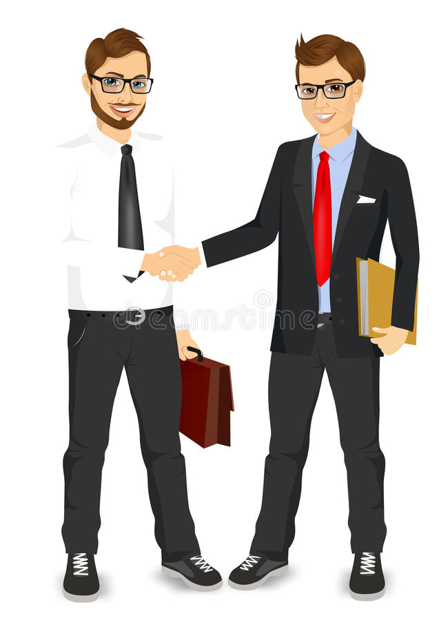 Businessmen with glasses shaking hands. Two young businessmen with glasses shaking hands happy standing negotiating stock illustration