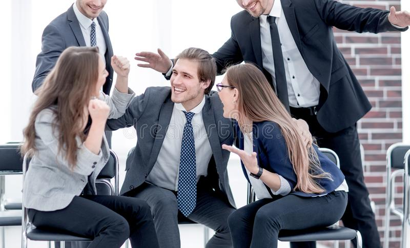 Businessmen greet each other stock images
