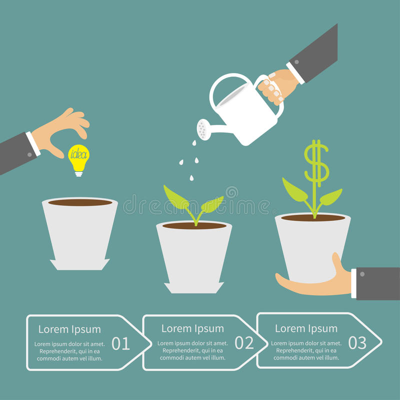 Businessmen hand Financial growth concept. Three. Steps. Business infographic. Flat design Vector illustration royalty free illustration