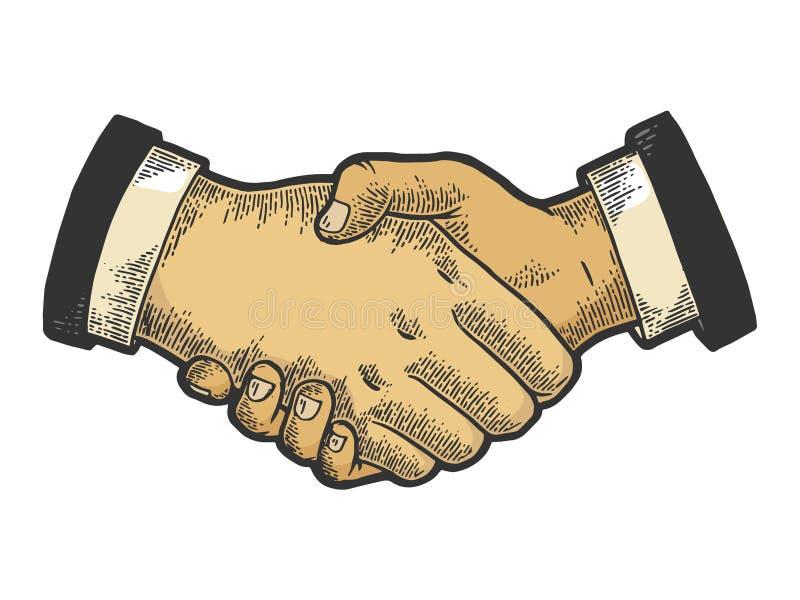 Businessmen handshake color sketch engraving stock illustration