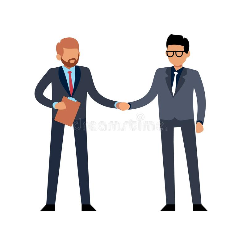 Businessmen handshake flat. Two young standing people meeting on conference or contract deal vector illustration