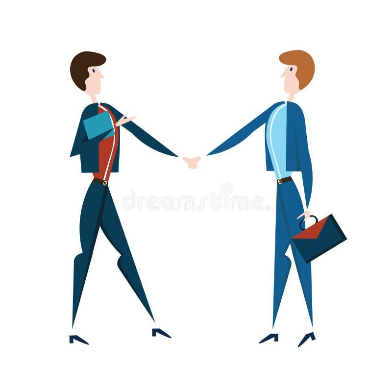 businessmen handshake two 导航在平的样式的例证,隔绝在白色 向量例证