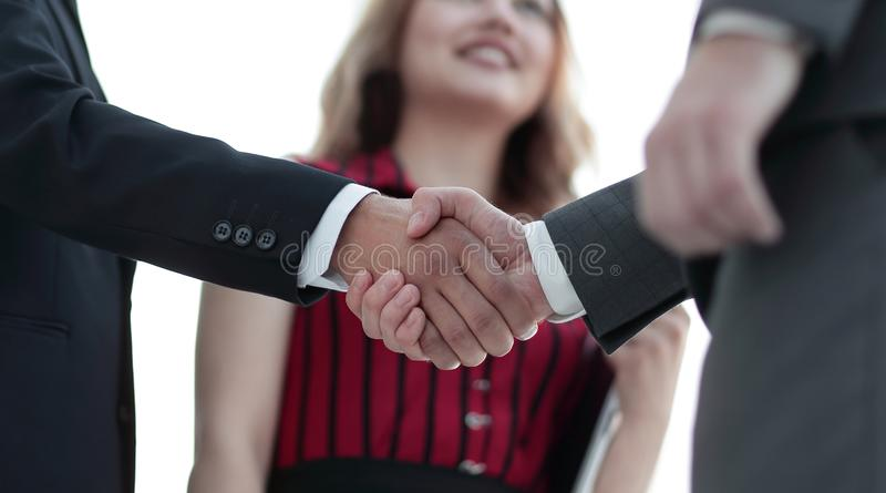 Businessmen handshaking after good deal. Business concept. Successful business people handshaking after good deal stock photo