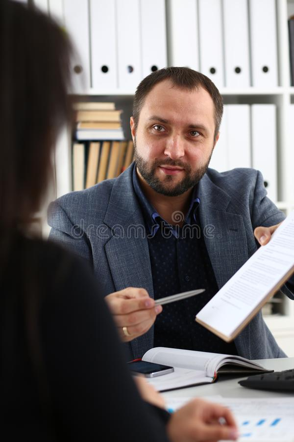 Businessmen have a discussion woman give interview to manager would like to get new job royalty free stock images