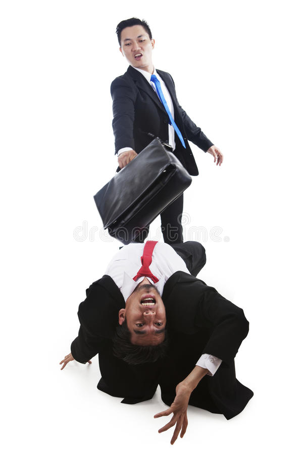 Download Businessmen Having A Fight On White Stock Image - Image of frightened, case: 23237319
