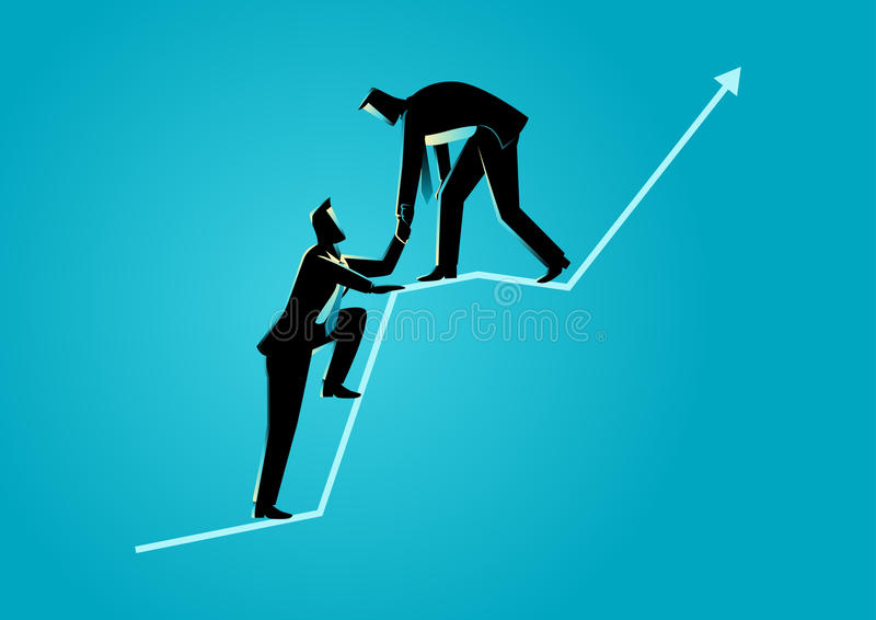 Businessmen helping each other on top of graphic chart. Business concept illustration of businessmen helping each other on top of graphic chart royalty free illustration