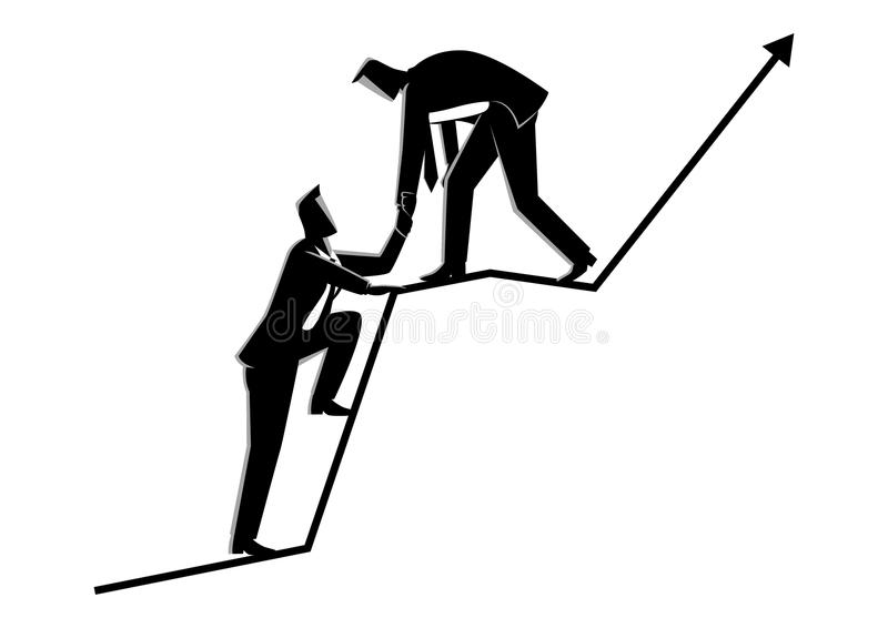 Businessmen helping each other on top of graphic chart. Business concept vector illustration of businessmen helping each other on top of graphic chart stock illustration