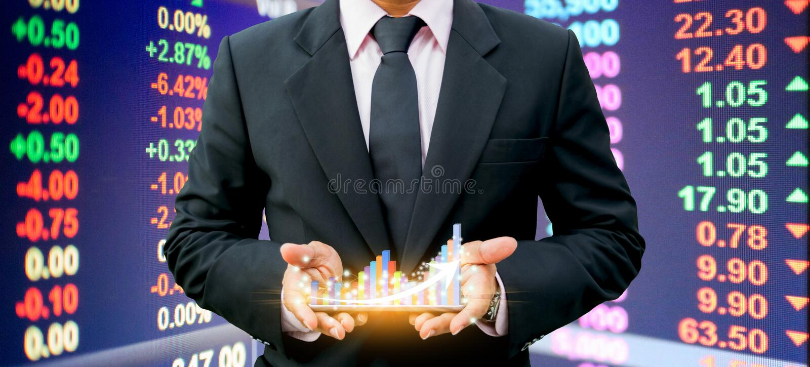 Businessmen holding bar graph on the smartphone Investment technology stock image