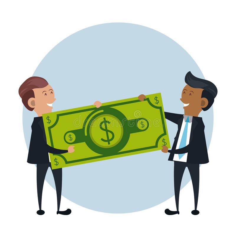 Businessmen holding billet money stock illustration
