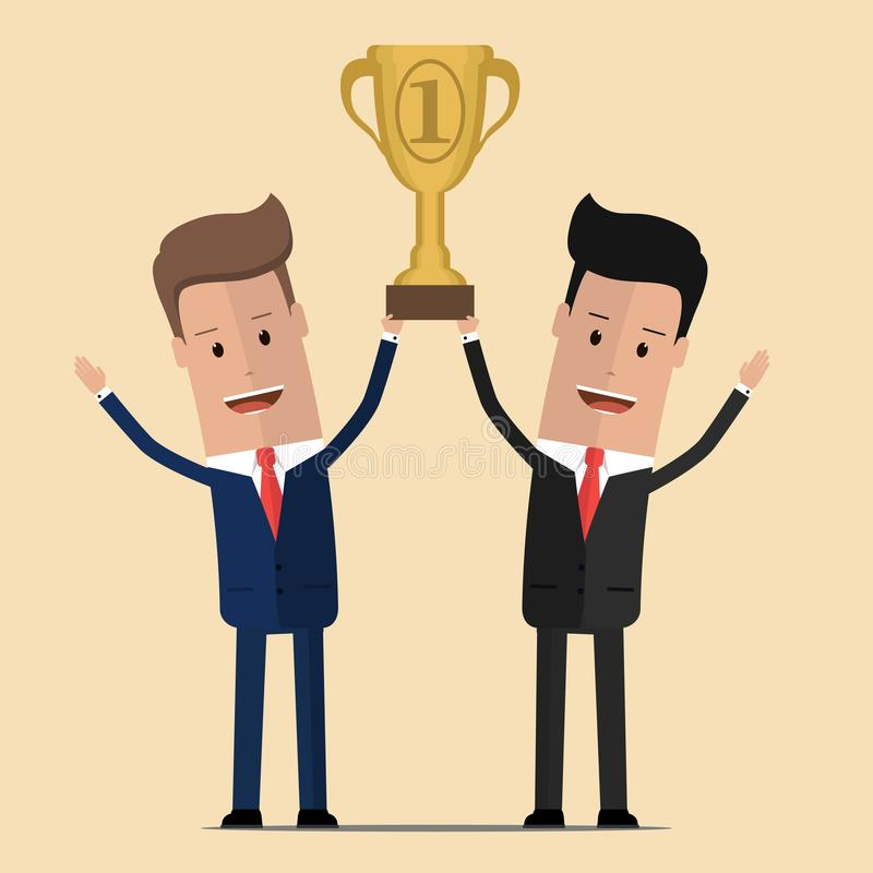 Businessmen holding golden cup over the head . Partnership and teamwork in business concept. Vector illustration royalty free illustration