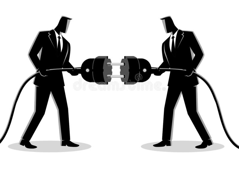 Businessmen holding a plug and outlet stock image