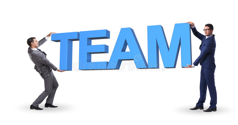 The businessmen holding word team in teamwork concept stock photos