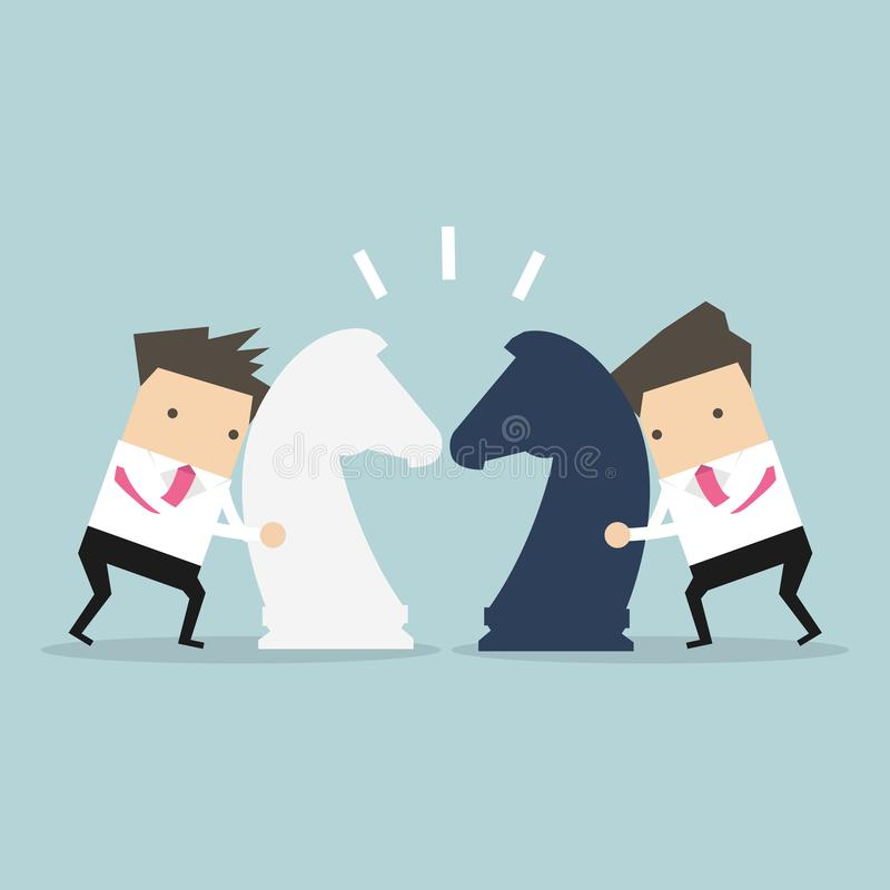 Businessmen with horse chess and fighting each other. Business competition concept. vector illustration