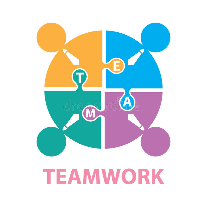 Businessmen with jigsaw puzzle pieces, teamwork concept stock illustration