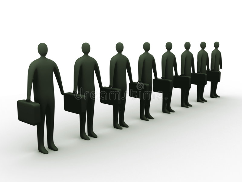 Businessmen in line royalty free illustration