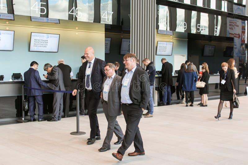 Businessmen in the lobby expo forum. stock photo