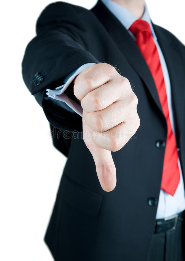 Businessmen Making His Thumb Down stock images