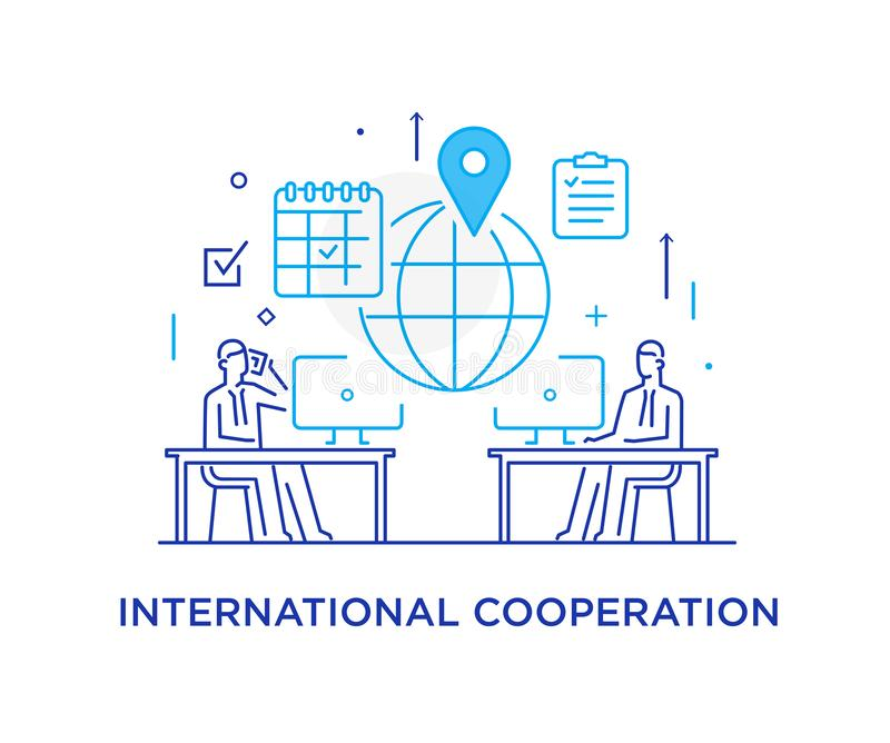 Businessmen negotiate online. international deal. Virtual communication smartphone. Cooperation interaction. Success. Businessmen negotiate online. international royalty free illustration