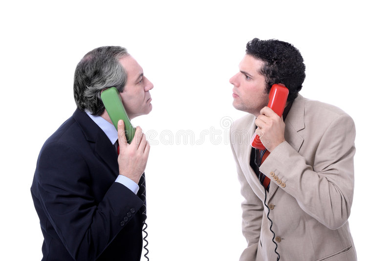 Funny men talking on the phone. Isolated on white - Funny Studio shot stock images