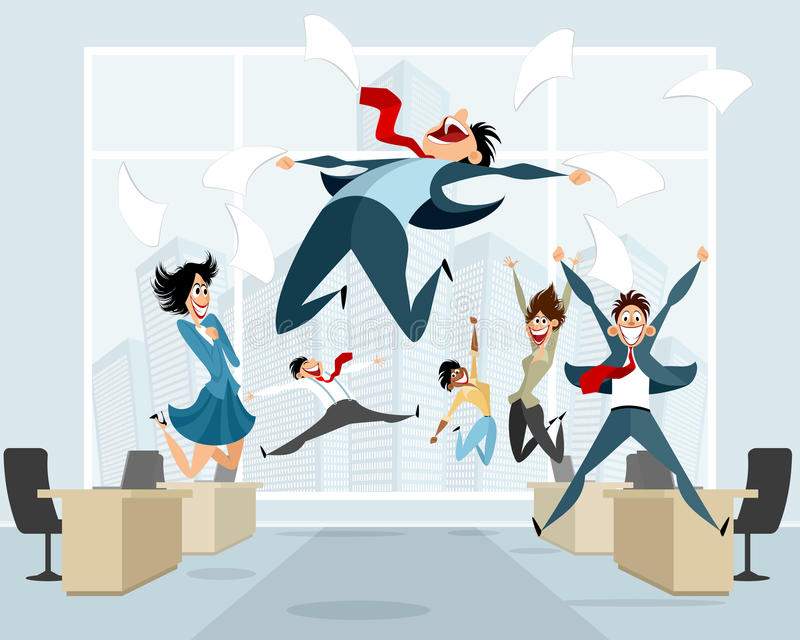 Businessmen in office jumping. Vector illustration of businessmen in office jumping royalty free illustration