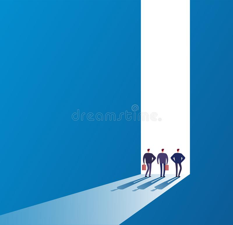 Businessmen at open door. Future path, new journey and successful ideas. Business unknown opportunities vector concept vector illustration
