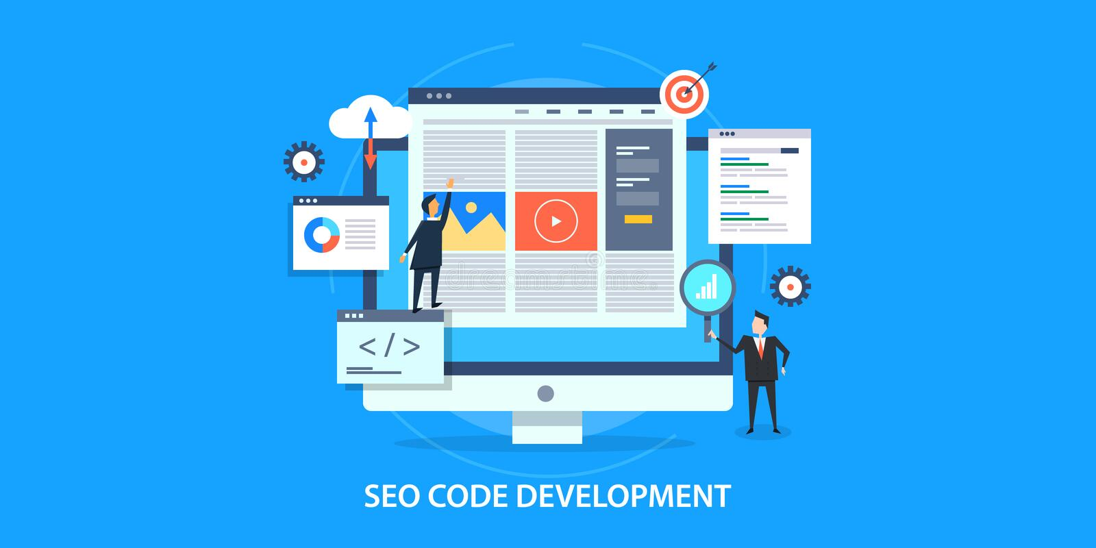 Flat design concept of search engine optimization, website seo development. Businessmen optimizing website for better search engine visibility, website code royalty free illustration