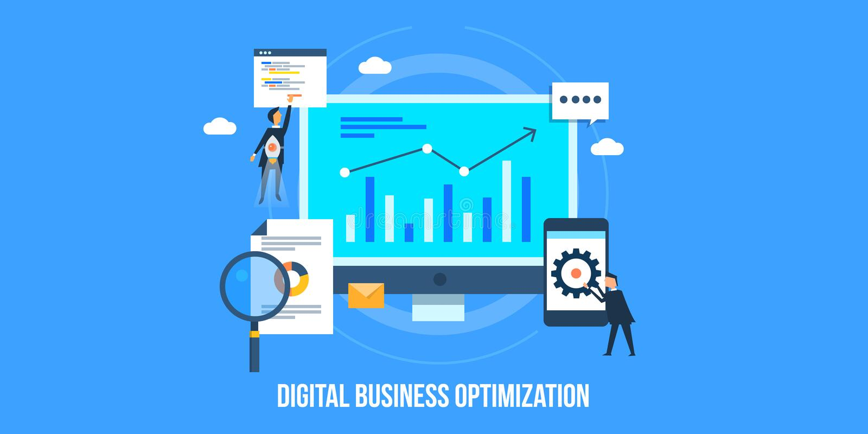 Flat design concept of digital marketing, business optimization, search and social marketing. Businessmen optimizing website, digital marketing, search, social vector illustration