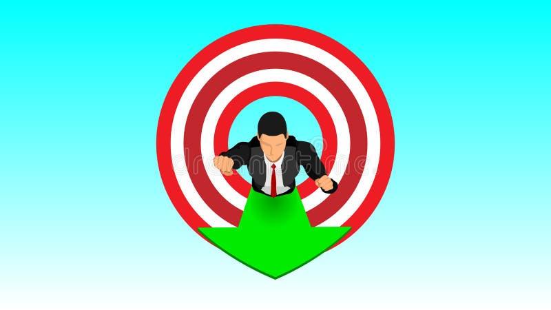 Businessmen penetrate targets flying in the sky vector illustration