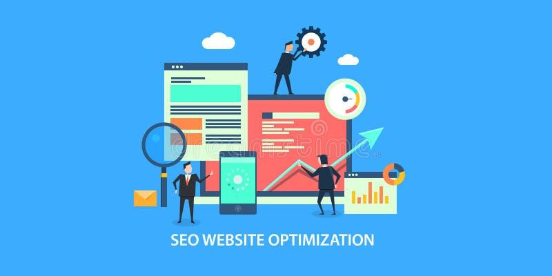 Flat design concept of seo, website optimization, digital marketing. Businessmen performing website optimization for search engines. Seo development for online stock illustration