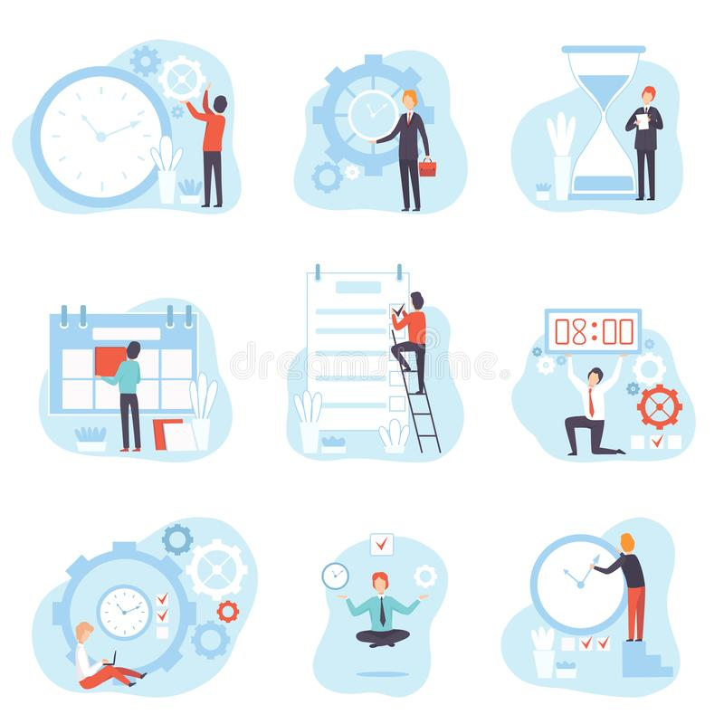 Businessmen Planning and Controlling Working Time Set, Time Management Business Concept Vector Illustration. On White Background royalty free illustration