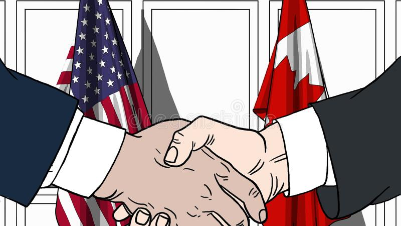 Businessmen or politicians shaking hands against flags of USA and Canada. Meeting or cooperation related cartoon stock illustration
