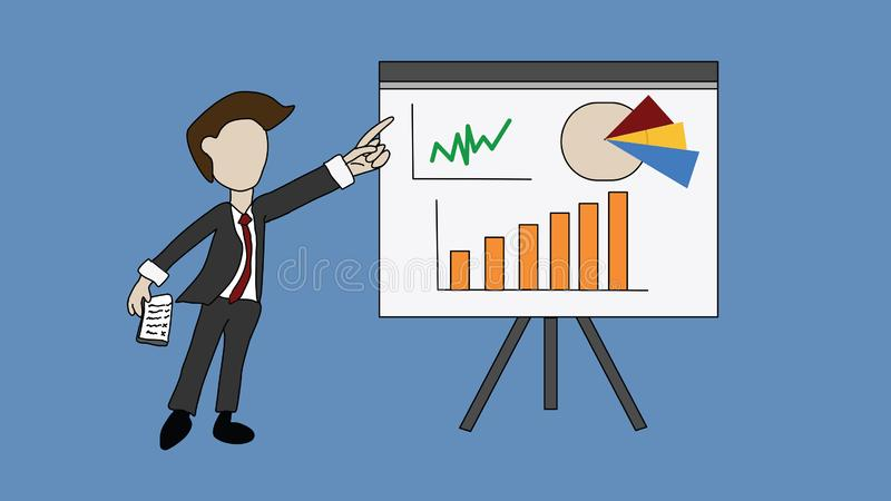Businessmen are presenting the work on various graphs on paper. Which the graph is rising, illustration - vector vector illustration