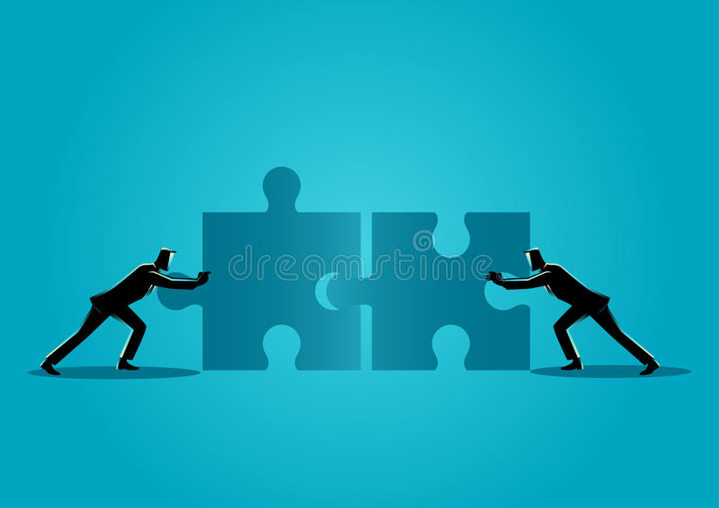 Businessmen pushing two jigsaw pieces vector illustration