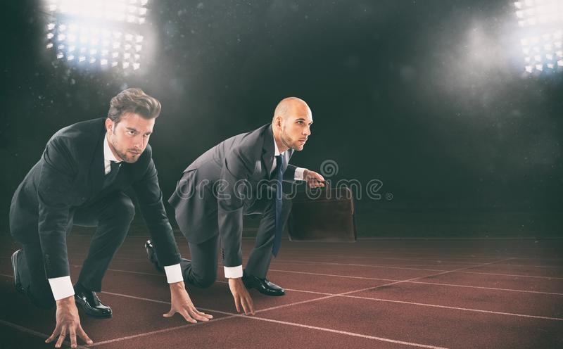 Businessmen ready to start. Competition and challenge in business concept. royalty free stock photos